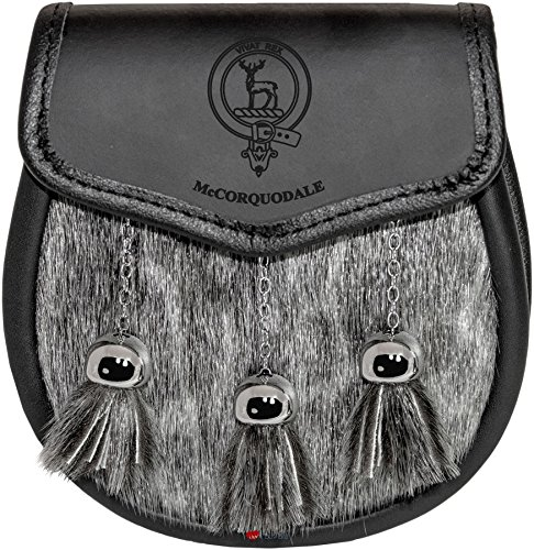 McCorquodale Semi Sporran Fur Plain Leather Flap Scottish Clan Crest by iLuv (Image #5)