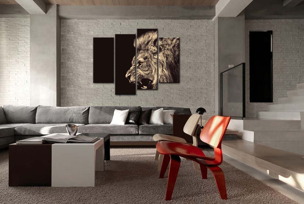Amazon.com: 4 Panel Wall Art Painting Roar Lion Pictures Prints On Canvas  Animal The Picture Decor Oil For Home Modern Decoration Print For Bathroom:  ...