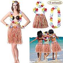 LONGBLE 4 Sets Kids Child Girls Grass Hula Skirts Elastic Hawaiian Hibiscus Flower Dancer Dress