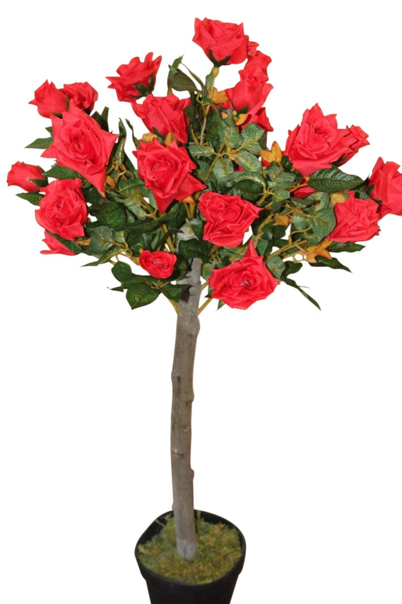 Artificial Plants - 1M Tall Artificial Half Standard Rose Tree - Red Olive Grove