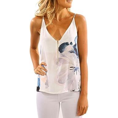 587050a4d7f40 T-Shirt Femme,Covermason Femmes en Mousseline de Soie sans Manches ...