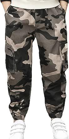 LAUSONS Pantalones Cargo para Niños Pantalon Jogger 4-15 Años