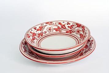 set di 3 piatti posto tavola per servizio di piatti in ceramica di caltagirone