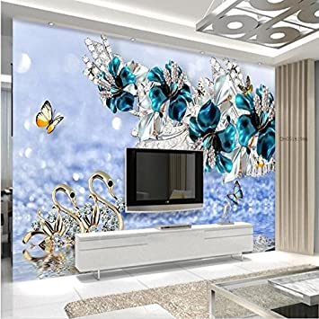 Lwcx Custom Wallpapers 3d Stereo Luxury Swan Blue Flowers Watermark Jewelry Tv Background Wall Living Room Home Decoration 200x140cm Amazon Com