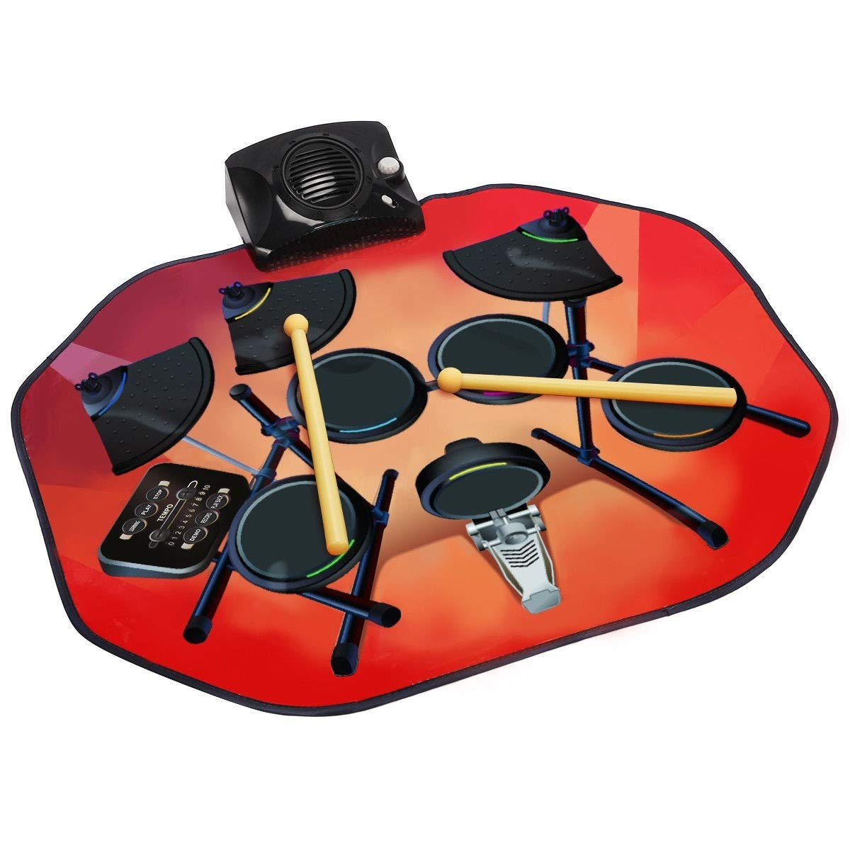 USA_BEST_SELLER Electronic Glowing Play Drum Mats Kit Set with MP3 Cable Great Holiday Birthday Gift for Kids by USA_BEST_SELLER (Image #2)