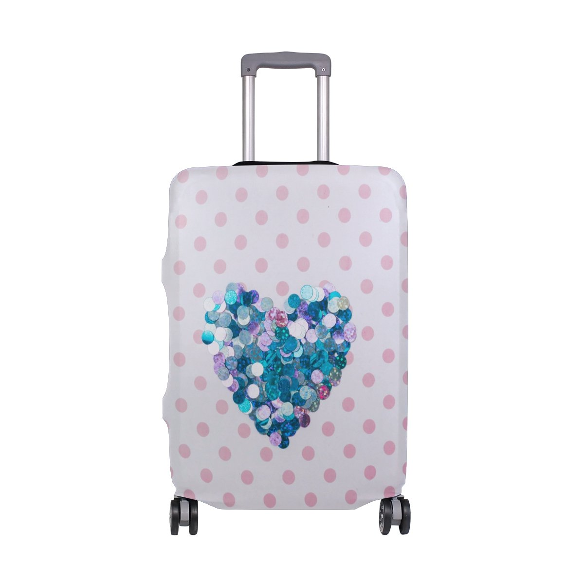 Pink Love Luggage Cover Suitcase Protector Washable Spandex Baggage Cover with Zipper for Travel, Business and Outdoor