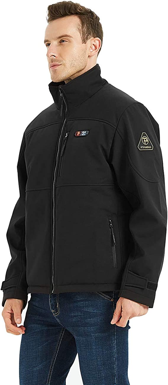 PTAHDUS Men's Heated Jacket Soft Shell, Heated Performance Jacket Soft Shell with Hand Warmer (Includes 7.4V Battery Pack) at  Men's Clothing store