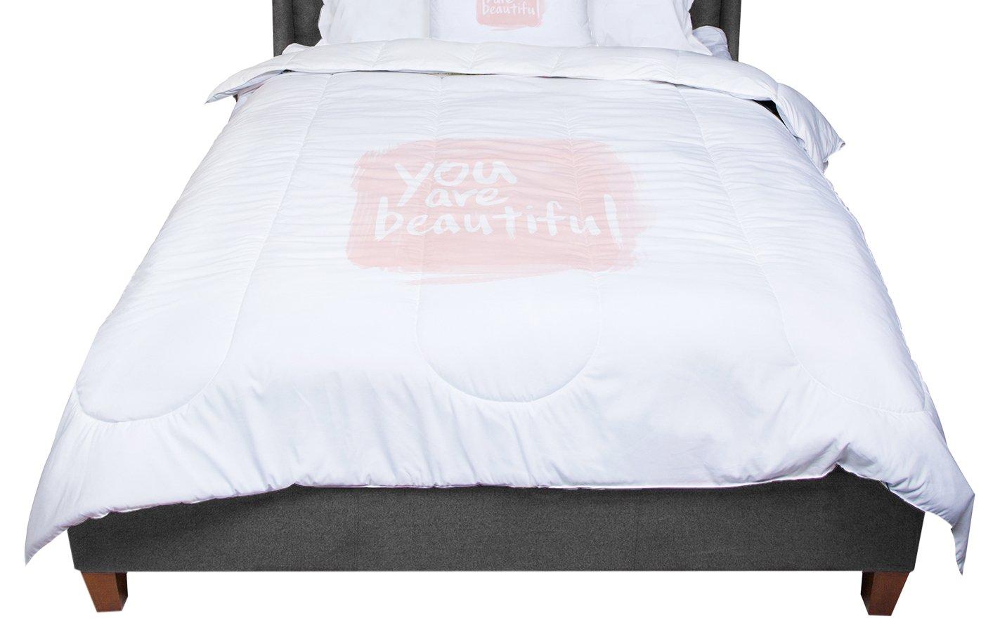 KESS InHouse Qing Ji Brush Lettering Beautiful Peach White Twin Comforter 68 X 88