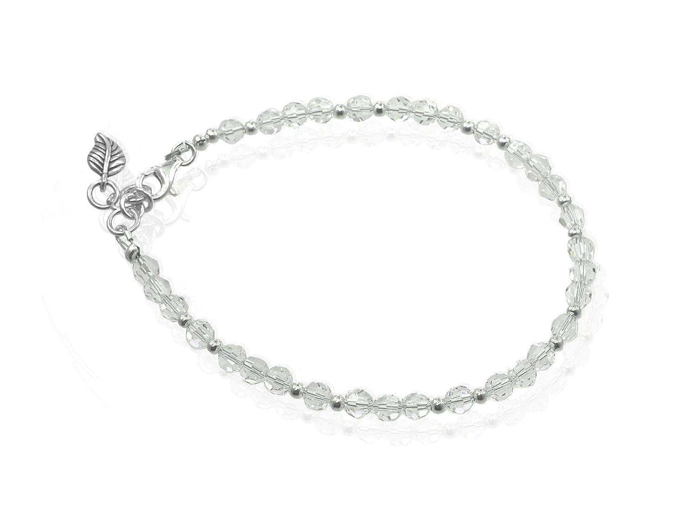 longueur au choix Bracelet de cheville Creative-Beads avec perles Swarovski scintillantes de 5 mm et perles en argent sterling de 4 mm23/cm de long