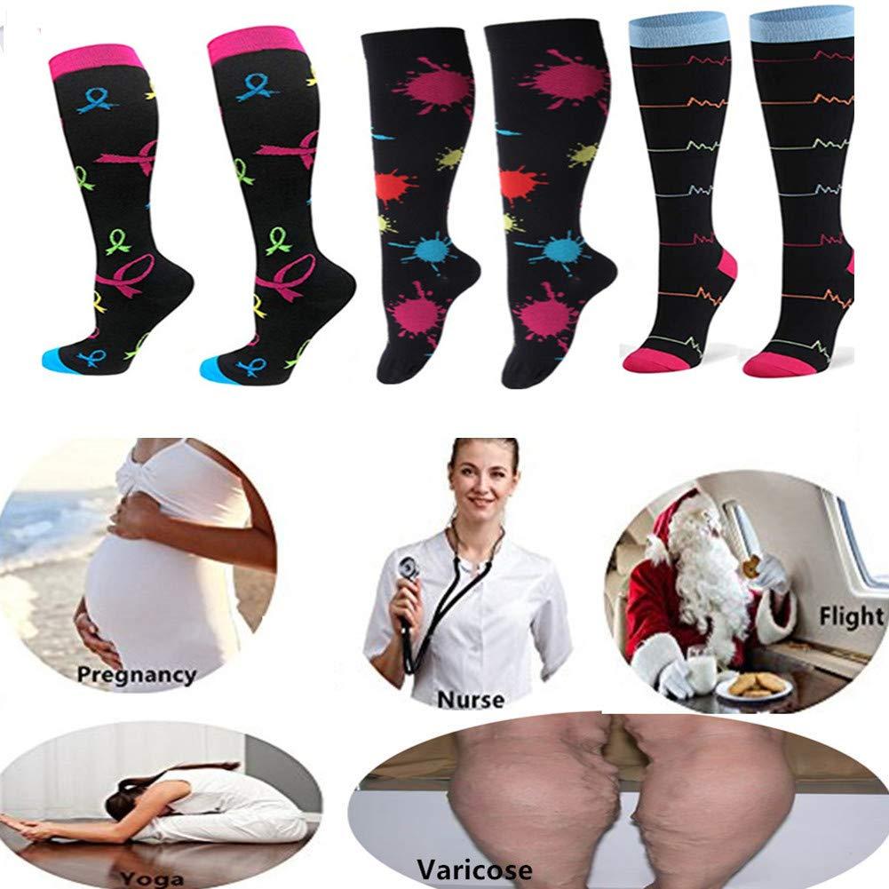 ZFiSt 3 Pairs Medical&Althetic Compression Socks for Women, 20-30 mmHg Nursing Performance Socks for Edema, Diabetic, Varicose Veins,Shin Splints,Running Marathon (Style2, L/XL)