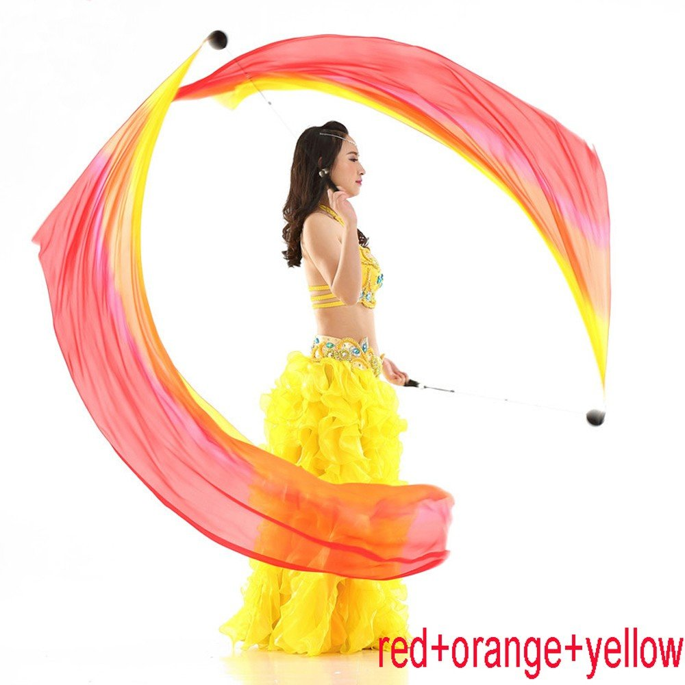 Nimiman 2Pcs Silk Veil+2 Pcs Poi Chain Ball Women Belly Dance Silk Veil Poi Streamer Stage Prpos