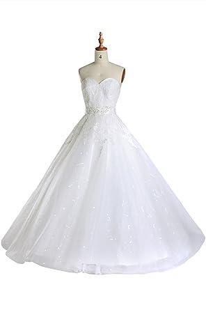 Wedding Dresses A Line Lace Strapless Simple Casual Princess Bridal ...