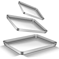 Baking Sheet Set, bdeals Premium Stainless Steel Cookie Sheet Toaster Oven Trays Biscuits Brownie Baking Pans Rectangle Size, Non Toxic & Stick, Mirror Finish & Easy Clean & Dishwasher Safe, Set of 3
