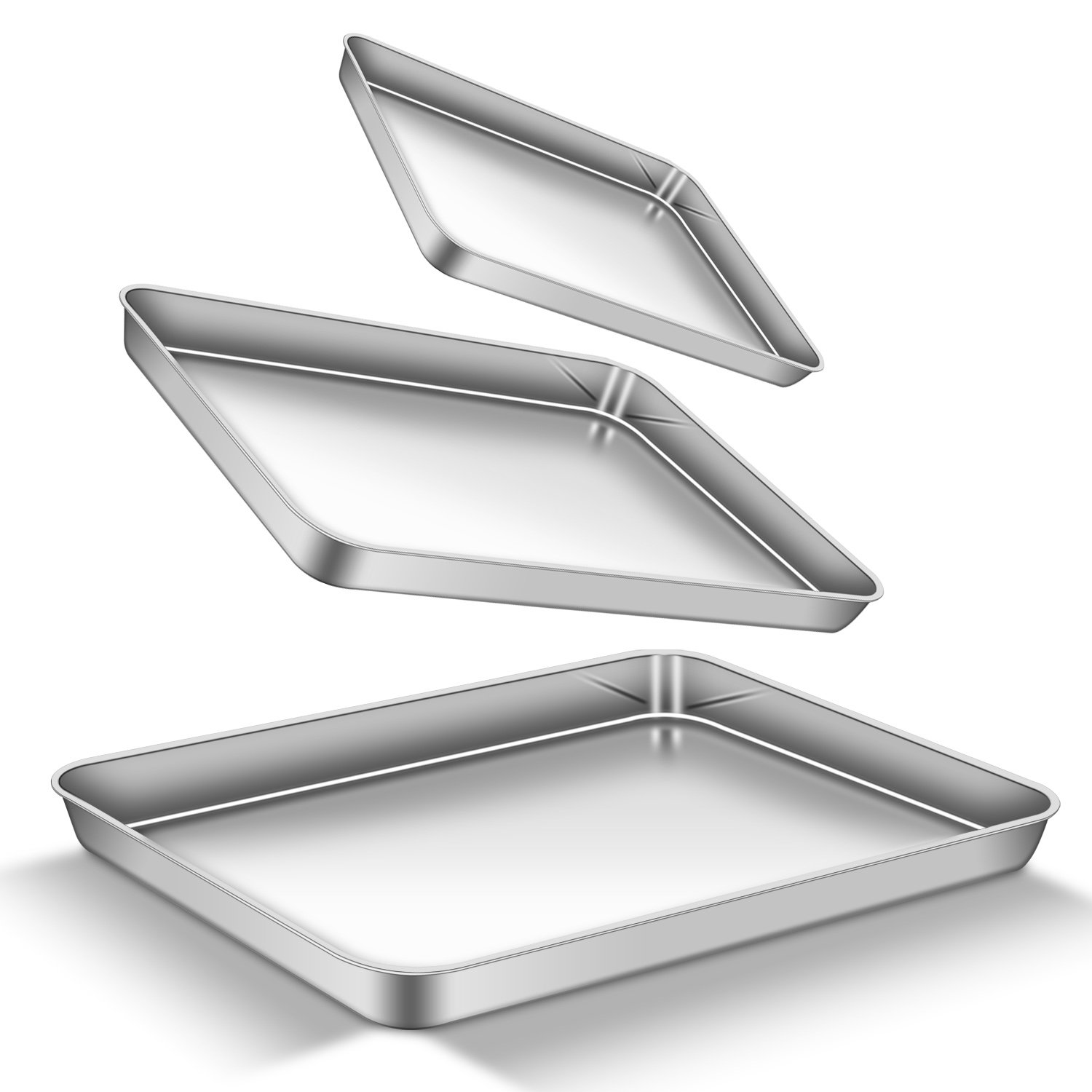 Baking Sheet Set, bdeals Premium Stainless Steel Cookie Sheet Toaster Oven Trays Biscuits Brownie Baking Pans Rectangle Size, Non Toxic & Stick, Mirror Finish & Easy Clean & Dishwasher Safe, Set of 3 by BDEALS