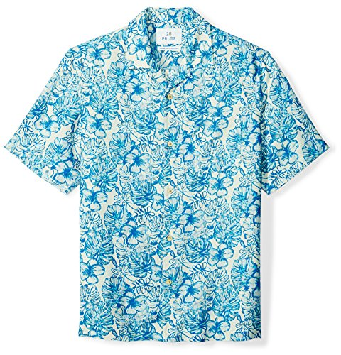 (28 Palms Men's Relaxed-Fit Silk/Linen Tropical Hawaiian Shirt, White/Blue Hibiscus Leaf Floral, X-Small)