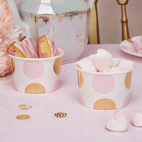 Helado cartón puntos color rosa oro 8 pieza – Vasos de papel helado cartón isbecher desechables