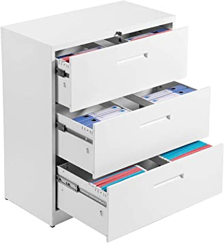 White P PURLOVE File Cabinet Lateral Lockable Heavy Duty Metal 3 Drawer File Cabinet