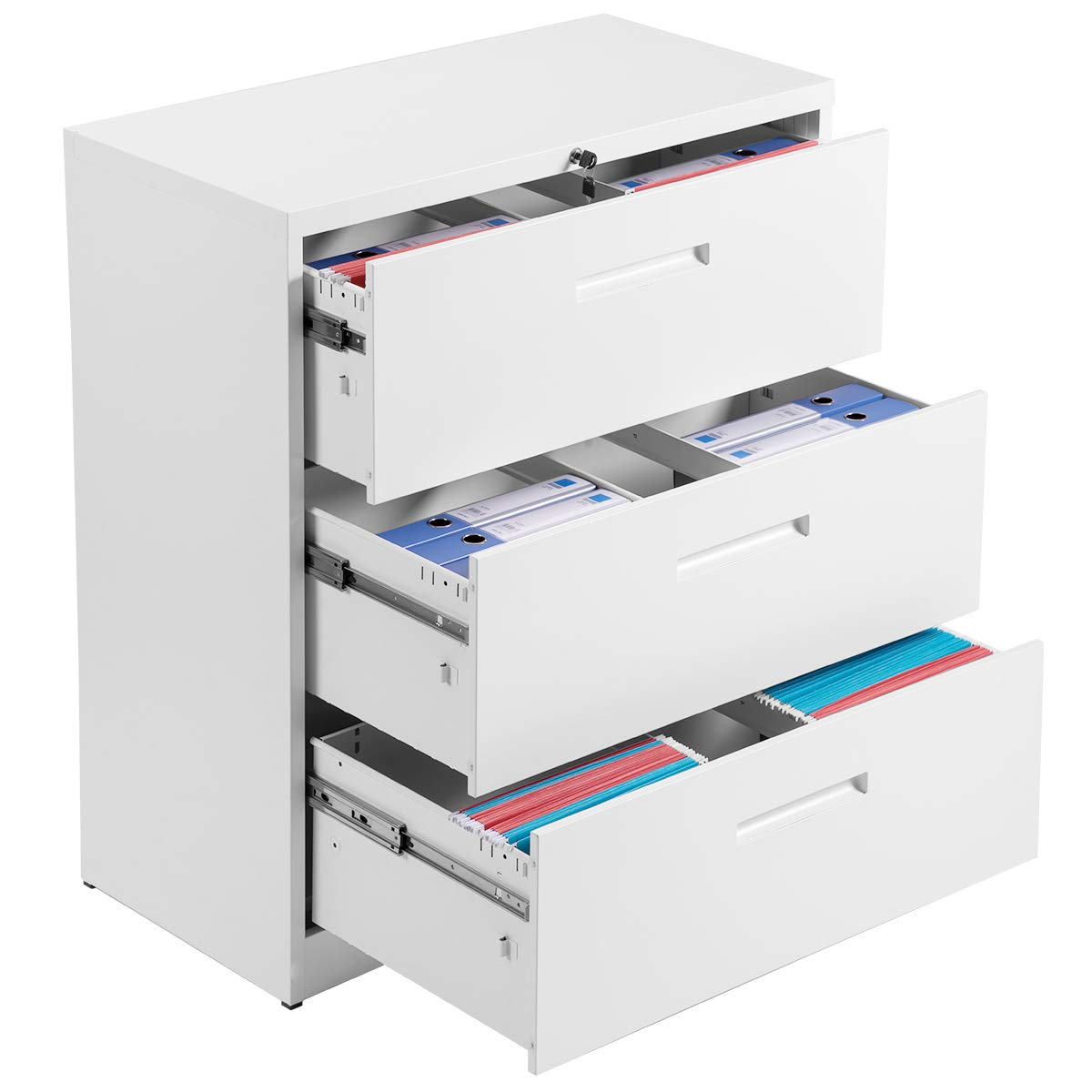3-Drawer White Lateral File Cabinet Lockable Heavy Duty Metal File Cabinet Lateral White by P PURLOVE