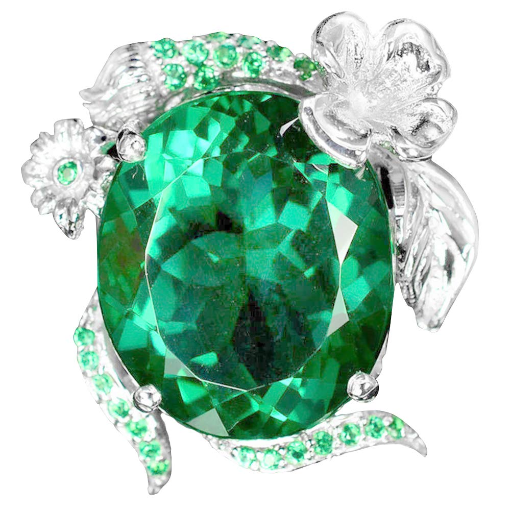 Fashion Women Faux Emerald Band Party Banquet Proposal Finger Ring Jewelry Gift