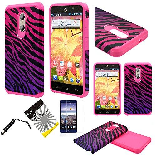 For ZTE ZMAX Pro Z981 / ZTE Carry / ITUFFY 3items: LCD Protector Film+Stylus Pen+Dual Layer [Shock Absorbant] [Slim Fit] Hybrid Armor Case (Pink Purple Zebra)