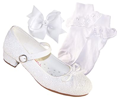 Girls White Low Heeled Sparkly Bridesmaid Flower Girl Special Occasion Shoes With White Socks And White Hair Bow