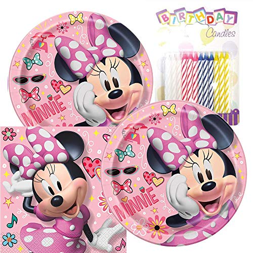 Minnie Mouse Party Supply (Minnie Mouse Themed Party Pack - Includes Paper Plates & Luncheon Napkins Plus 24 Birthday Candles - Servers)