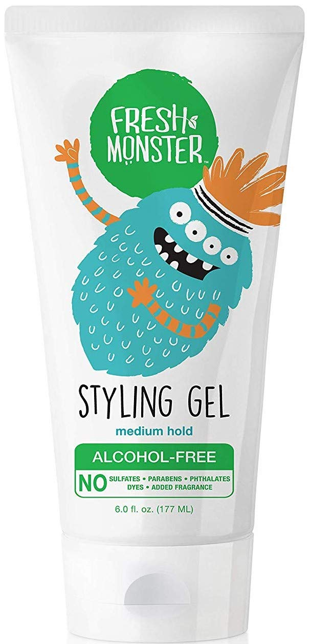 Fresh Monster Natural Hair Gel for Kids & Babies, Alcohol-Free, Toxin-Free, Flexible Medium Hold