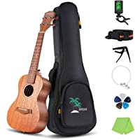 Decdeal 21 Inch Acoustic Soprano Ukulele Kit Mahogany Plywood Ukelele with Gig Bag Uke Strap Spare Strings Clip-on Tuner Cleaning Cloth Capo 5pcs Celluloid Picks for Beginners