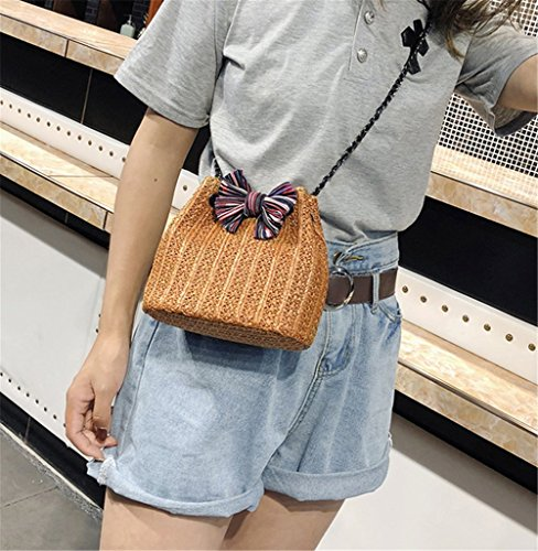 Three Hand Bag Rrock Messenger Bag Fashion Bow Straw Bucket Bag Bag Women's Color Woven Brown Bag Shoulder Portable Chain qwwxaf