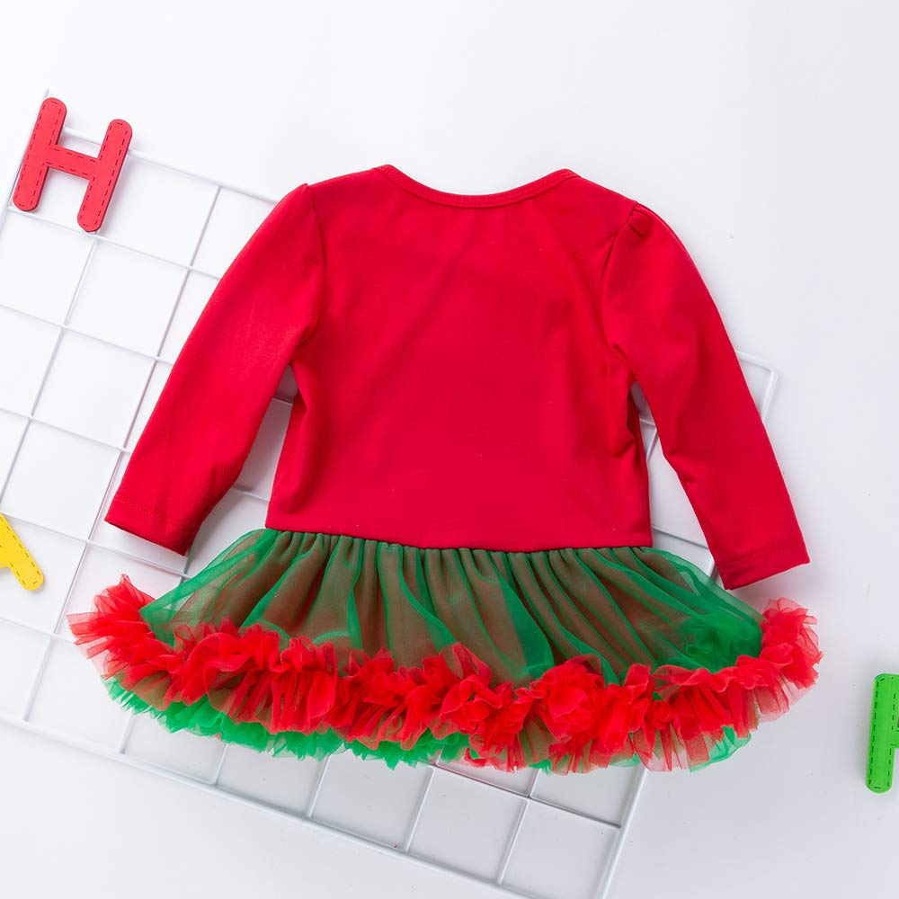 Baby Girls Christmas Tutu Romper Dress Headband 4PCS Party Outfits Set (XL, My First Christmas)
