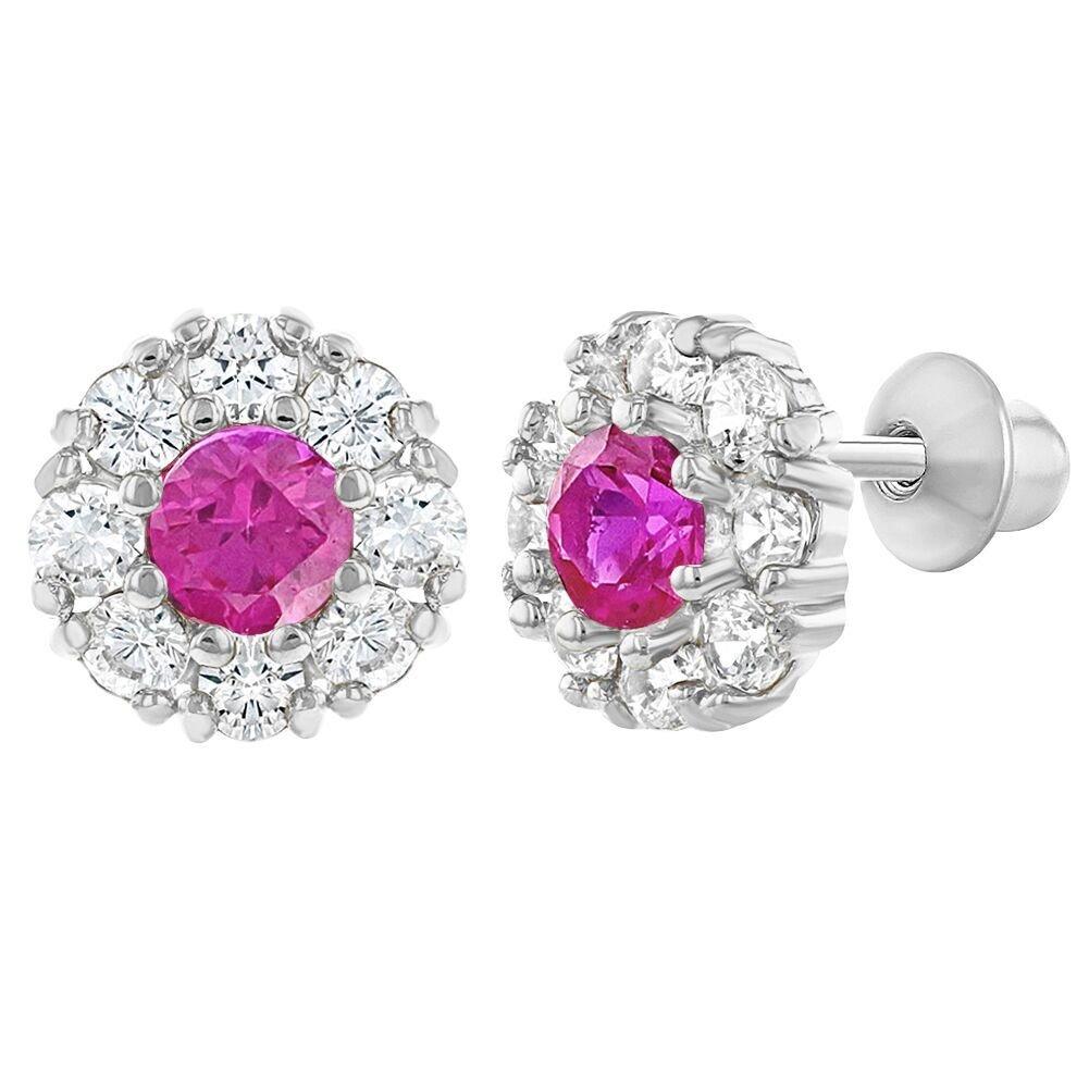 Rhodium Plated Flower Crystal CZ Screw Back Baby Girls Earrings 7mm