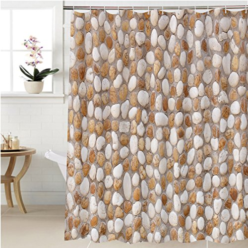 Gzhihine Shower curtain stone wall decoration texture on modern building facade artistic architecture pattern wallpaper Bathroom Accessories 48 x 72 - Orange Outlets Map