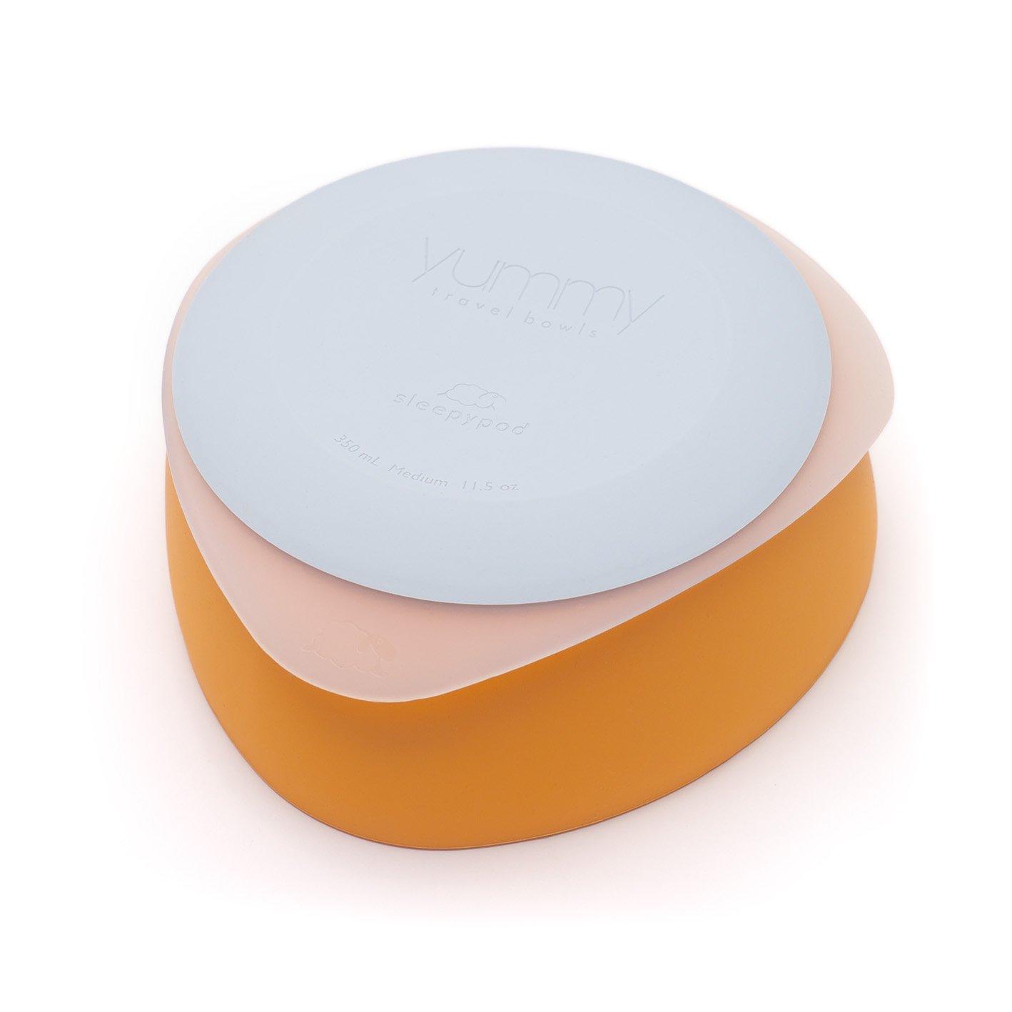 Sleepypod Yummy Travel Bowl Set (Medium Mango Tango) for dogs and cats by Sleepypod