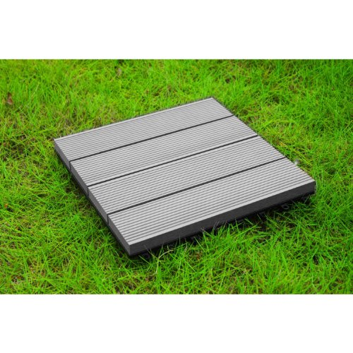 Build4eco - Century Outdoor Living DIY Patio Outdoor Deck Tile Interlocking Decking Tile Composite Wood Deck Flooring Gray 4 Slate Style (12-inch X 12-inch 10 Tiles) (Patio Diy Deck)