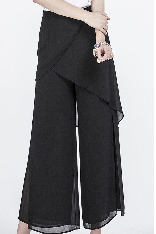 Free Shipping-Women's Layered Chiffon Pants Black