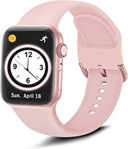 Brigtlaiff Compatible with Apple Watch Bands 38mm 40mm 42mm 44mm, Soft Silicone Sport Replacement Women Men Strap with Unique Colors Clasp for iWatch Series 6 5 4 3 2 1 SE - 38mm 40mm, Pink Sand