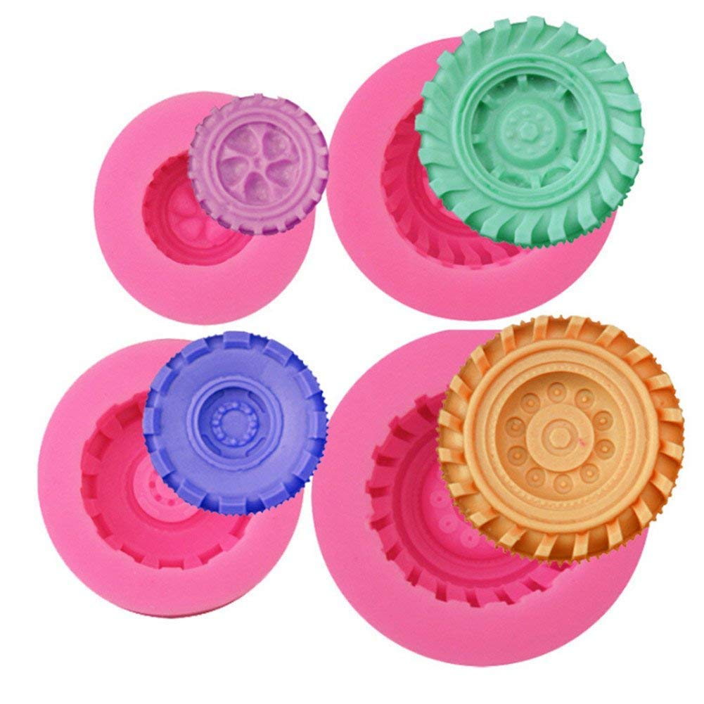 Gluckliy 4 Pcs Set Tires Wheel Shape Silicone Mould Fondant Sugarcraft Cake Decorating Tools Kitchen Accessories Bakeware Baking Accessories fangqiang