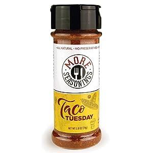 MORE Seasonings Taco Tuesday - All Natural 4 Chili Taco Flavor - Mix of Chili Powder, Garlic, Salt, Paprika, Onion, Pepper & MORE - Healthy, Kosher Seasoning - 2.8oz, (1 Bottle)