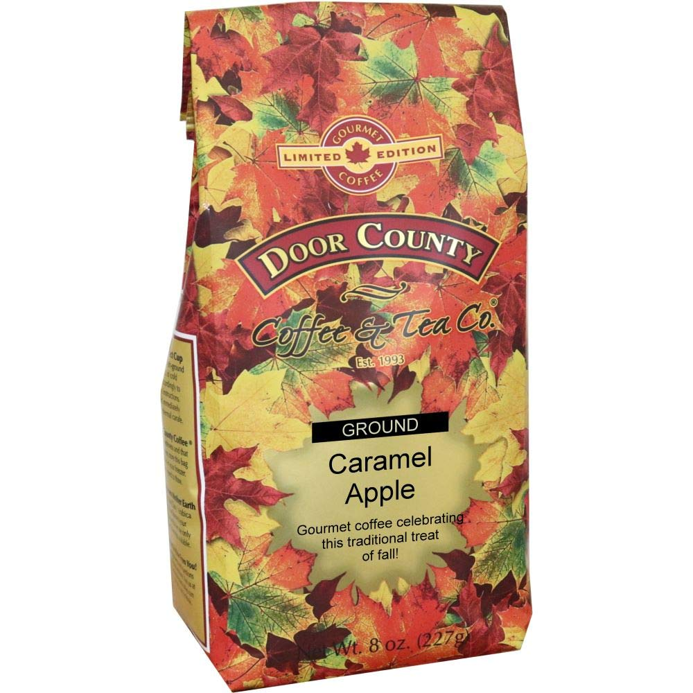 Door County Coffee, Fall Seasonal Flavored Coffee, Caramel Apple, Flavored Coffee, Medium Roast, Ground Coffee, 8 oz Bag