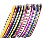 Mudder 30 Pieces Rolls Striping Tape Line Nail Art Tips Decoration Sticker, Mixed Colors