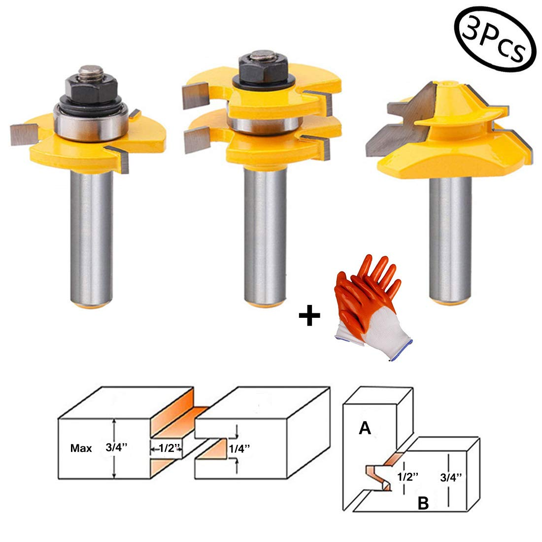 Tongue and Groove Router Bit Tool Set 3 Teeth Adjustable T Shape Wood Milling Cutter 1/2 Inch Shank with 45°Lock Miter Bit 1/2 Inch Shank for For Router Table/Base Router/Kitchen/Bathroom/Cabinets