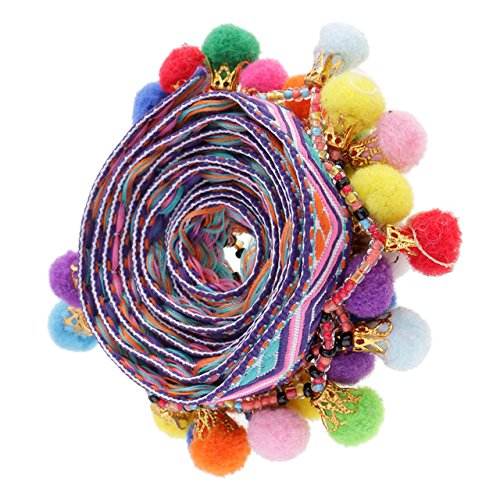 (Yalulu 5 Yards Colorful Pom Pom Tassel Trim Ball Beads Fringe Braid Jacquard Ribbon DIY Sewing Accessory Lace for Home Sewing Craft Decoration (#5))