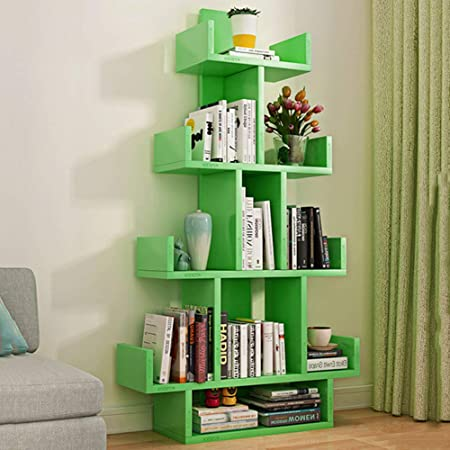 HMDX Tree BookShelf10 Compartments Wood Bookcase Furniture Versatile Display Rack Storage Organizer Shelf For