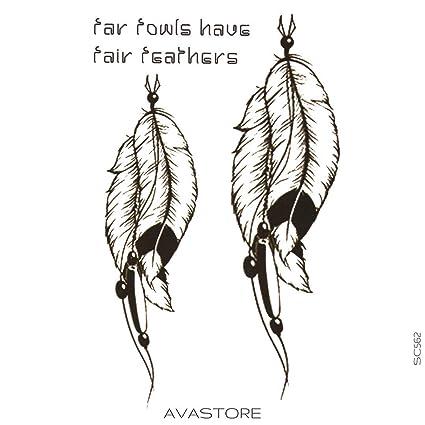 Tatuaje Temporal Pluma tatuaje efímero pluma - avastore: Amazon.es ...