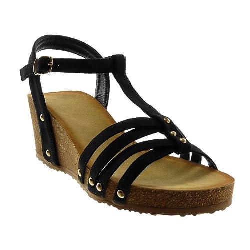 ddc219981aae88 Angkorly - Chaussure Mode Sandale Mule salomés lanière Cheville Plateforme  Femme clouté Multi-Bride liège