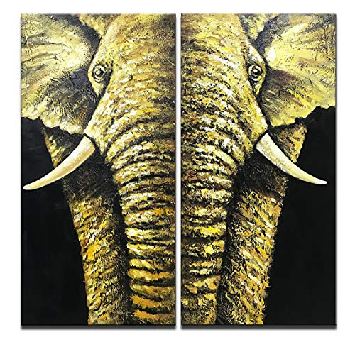 Asdam Art-2 Panels Abstract Animal Oil Painting on Canvas 3D Hand Painted Elegant Elephant Wall Art Wood Inside Framed Hanging Wall Decoration for Living Room Bedroom Bathroom Office(16x32inchx2)