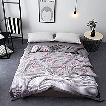 KFZ Summer Quilt Washed Cotton Printing Comforter for Bed Set No Pillow Covers YJY Twin Full Queen Flamingo Cactus Mask Cat Modern Design for Children One Piece (Cactus, Green, Full,70x78) 70x78)