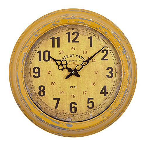 Yosemite Home Decor Circular Iron Wall Clock, Distressed Yellow