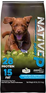 NATIVE Performance Dog Food Puppy 28:15 Chicken Meal and Rice Formula, 40-Pound