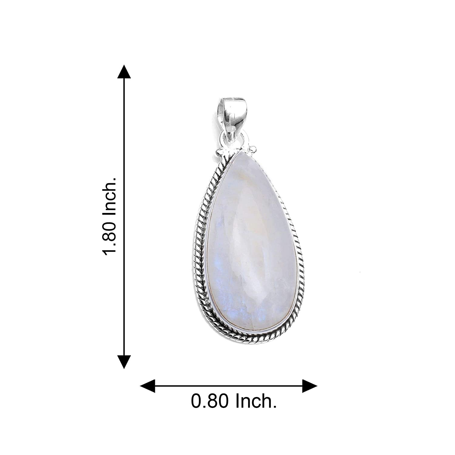 Silver Palace 925 Sterling Silver Natural Rainbow Moonstone Pendants for Women and Girls